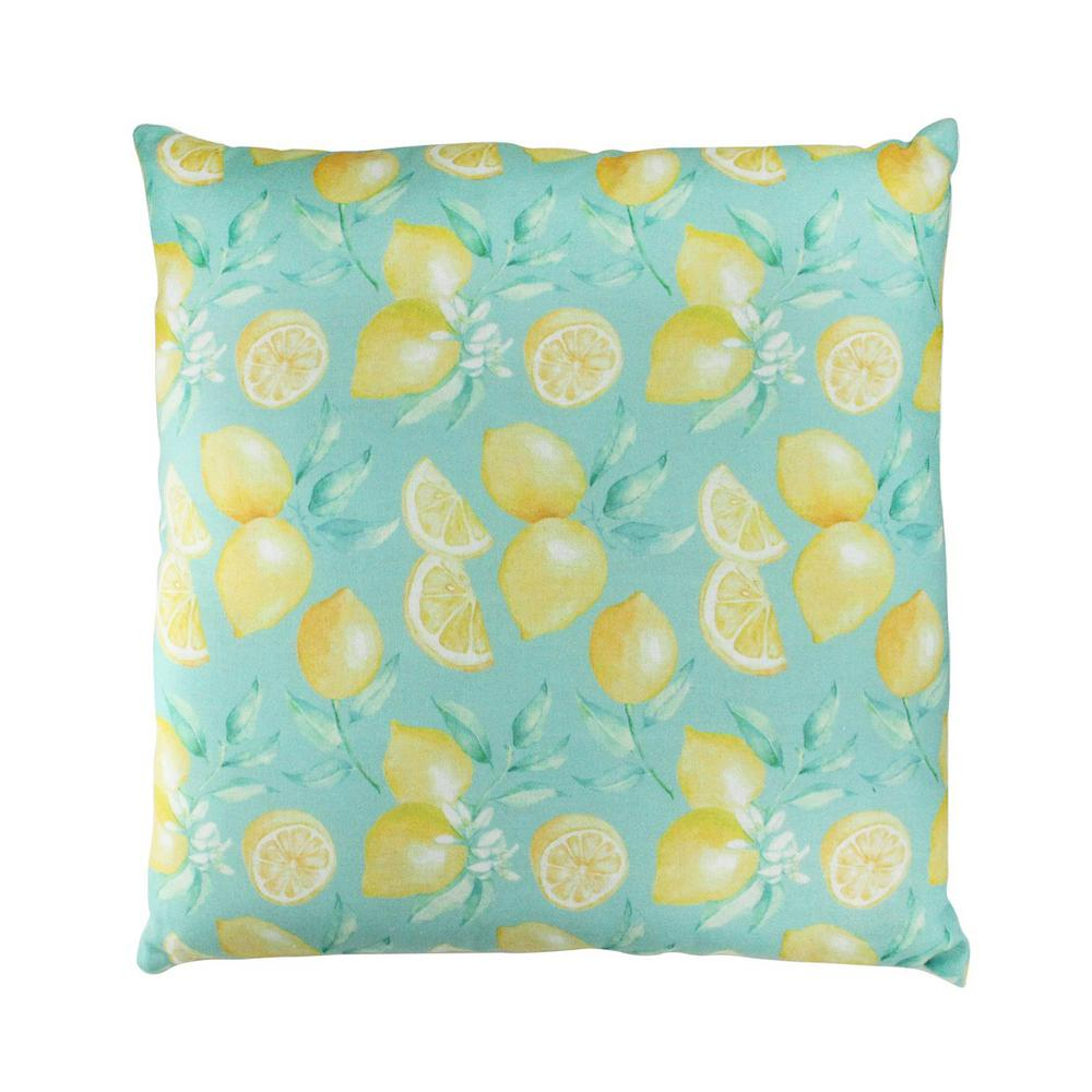 Green tropical lemons decorative cotton throw pillow