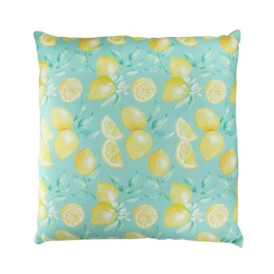 Tropical Lemons Green Graphic Polyester 4.5 in. x 4.5 in. Throw Pillow