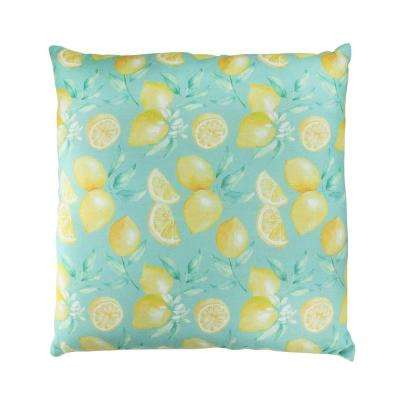 17 in. Green Tropical Lemons Decorative Cotton Throw Pillow
