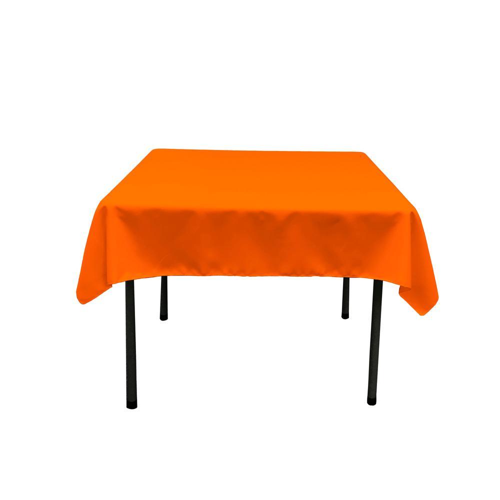 58 in. x 58 in. Orange Polyester Poplin Square Tablecloth