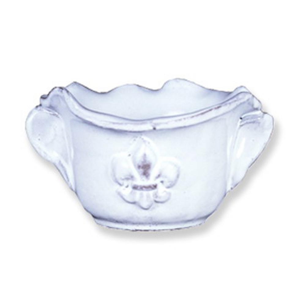 Fleur De Lis White Ceramic Dinner Plate Set of 4
