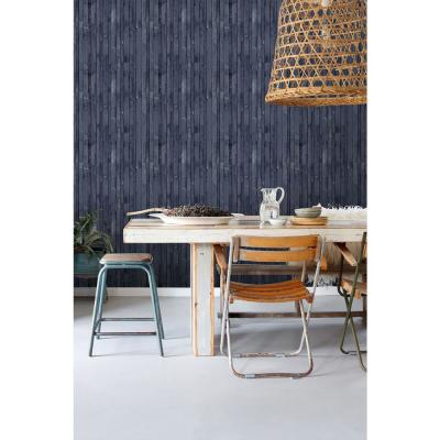 56.4 sq. ft. Azelma Navy Wood Strippable Wallpaper