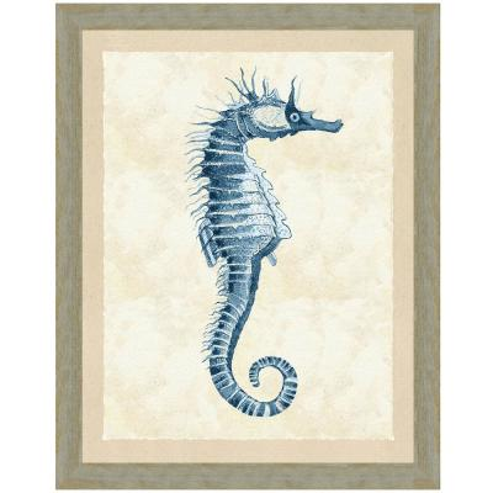 """Indigo seahorse I"" Framed Archival Paper Wall Art (26x32 in full size)"