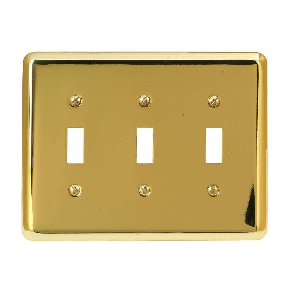 Amerelle Steel 3 Toggle Wall Plate - Bright Brass