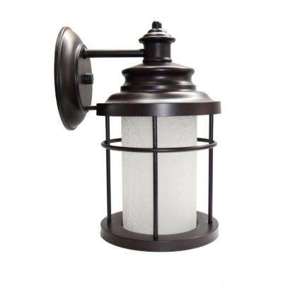 LED Antique Bronze Exterior Wall Lantern Sconce with Frosted Crackle Glass