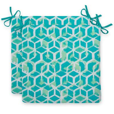 Teal Cubed Outdoor Seat Cushion (2-Pack)