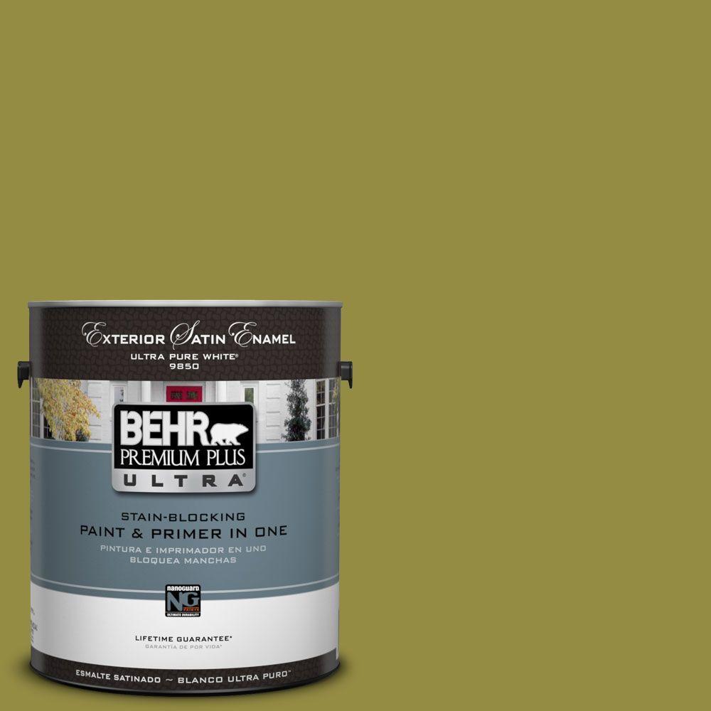 BEHR Premium Plus Ultra 1-Gal. #UL200-20 Retro Avocado Satin Enamel Exterior Paint