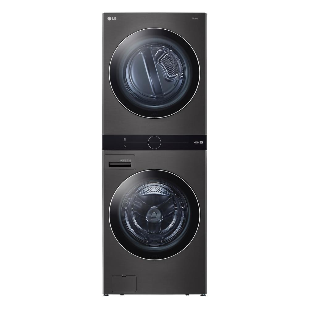 LG Electronics 27 in. Black Steel WashTower Laundry Center with 4.5 cu. ft. Front Load Washer and 7.4 cu. ft....