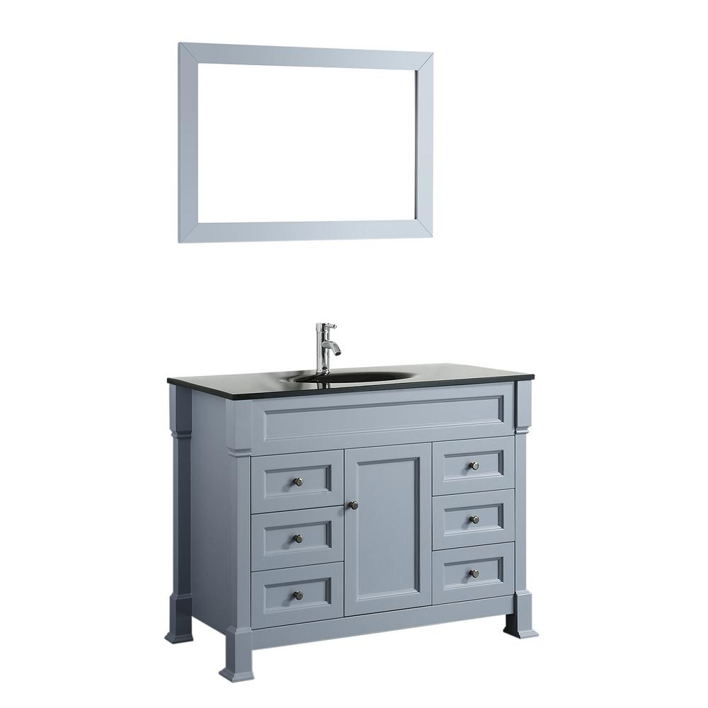 Bosconi Bosconi 43 in. W Single Bath Vanity in Grey with Tempered Glass Vanity Top in Black with Black Basin and Mirror