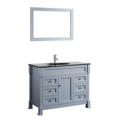 Bosconi 43 in. W Single Bath Vanity in Grey with Tempered Glass Vanity Top in Black with Black Basin and Mirror