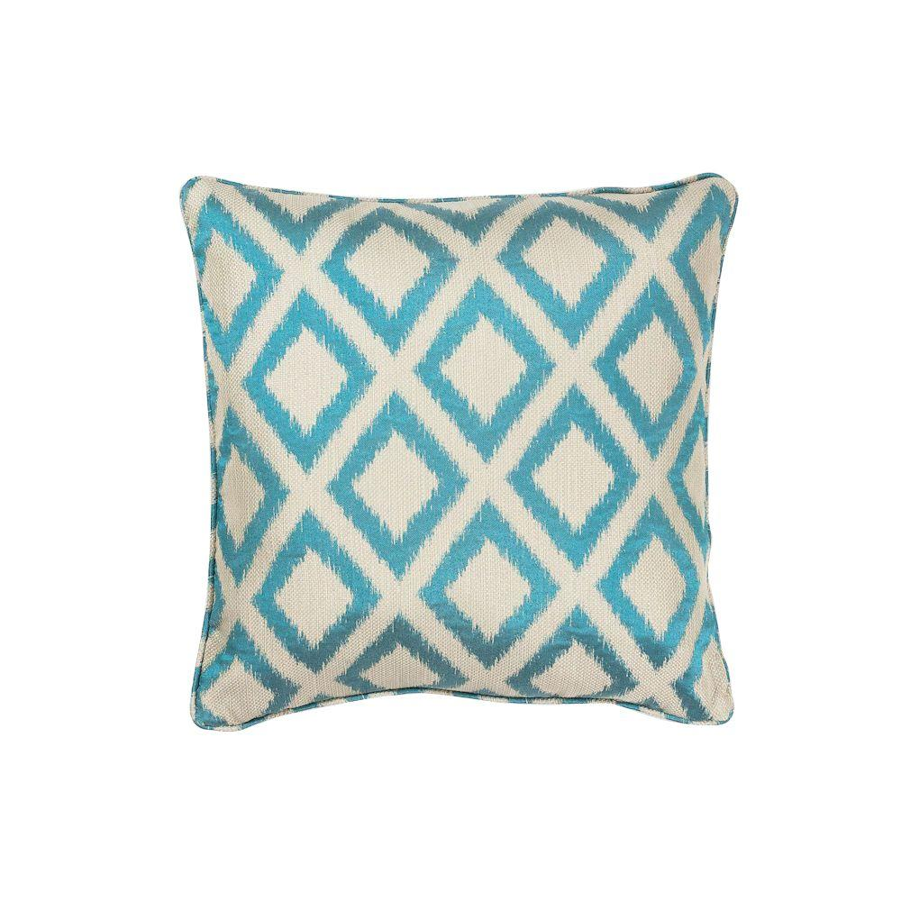 Kas rugs royden frame turquoise decorative pillow