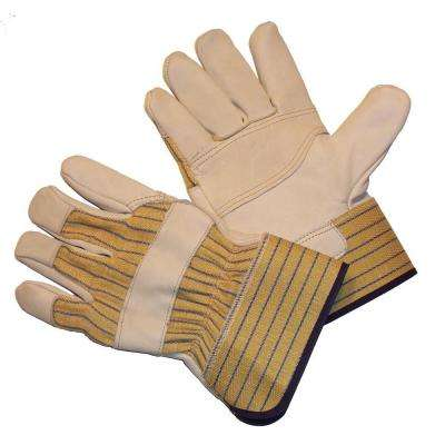 Large Heavy Cowhide Leather Palm Gloves with Heavy Duty Fabric (1-Pair)
