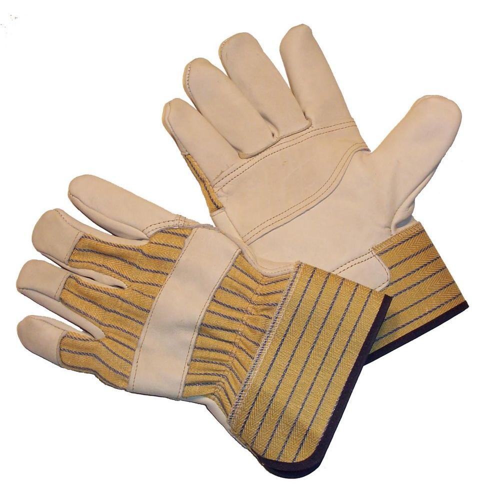 Large 1 Pair of Double Palm Leather Work Gloves Patch Split Hand Heavy Duty