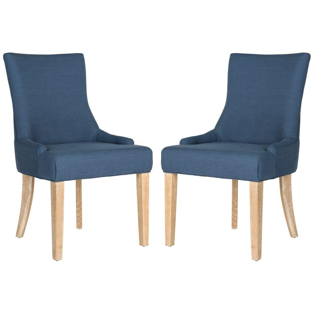 Safavieh lester steel blue viscose linen chair 2 pack mcr4709an set2 the home depot