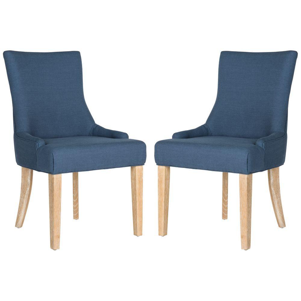 Safavieh lester steel blue viscose linen chair 2 pack mcr4709an set2 the home depot