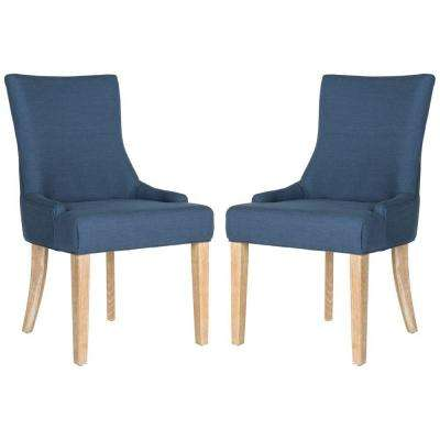 Lester Steel Blue Viscose-Linen Chair (2-Pack)