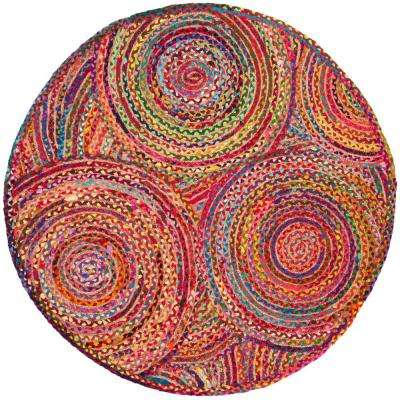 Cape Cod Red/Multi 3 ft. x 3 ft. Round Area Rug