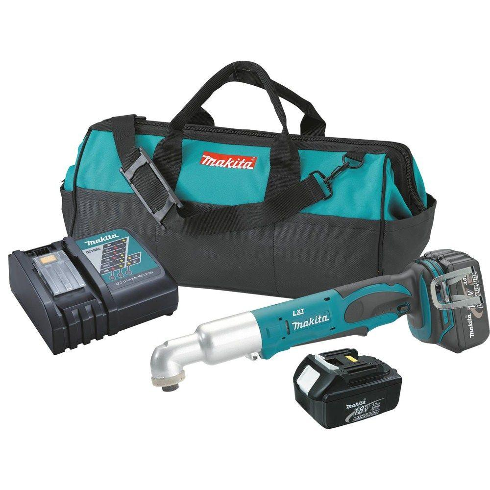 Makita 18-Volt LXT Lithium-Ion 1/4 in. Cordless Angle Impact Driver Kit with (2) Batteries 3.0Ah, Charger and Tool Bag