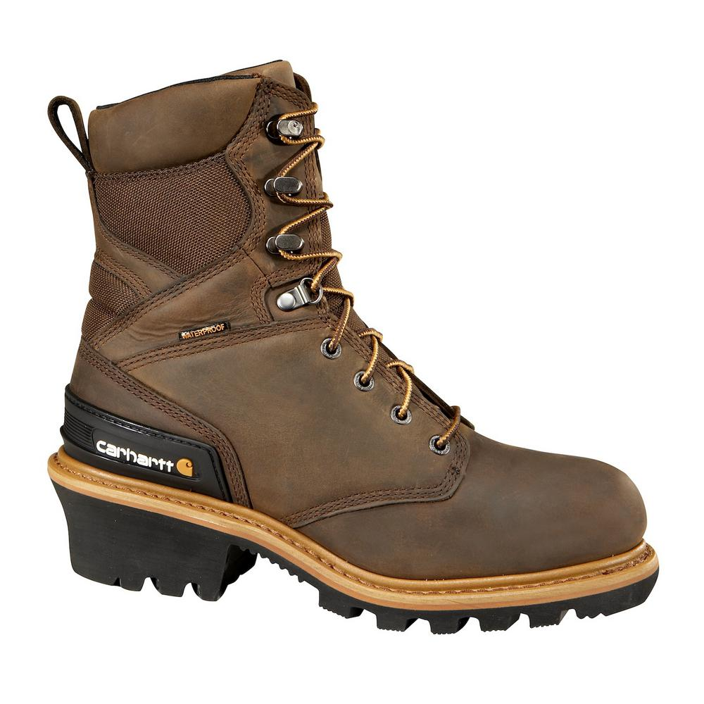 c6532b1a69e Carhartt Woodworks Men's 12W Brown Leather Waterproof Composite Safety Toe  8 in. Work Boot