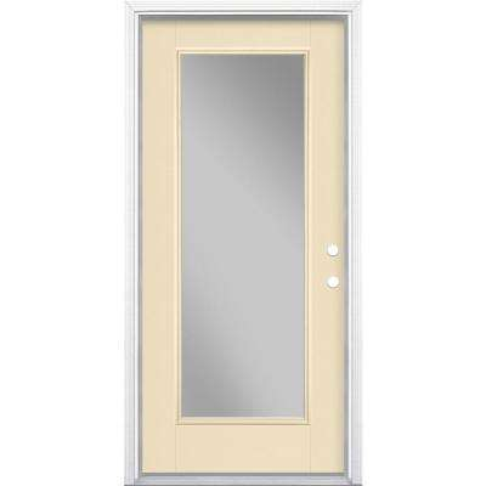 36 in. x 80 in. Full Lite Left Hand Inswing Painted Smooth Fiberglass Prehung Front Door with Brickmold, Vinyl Frame