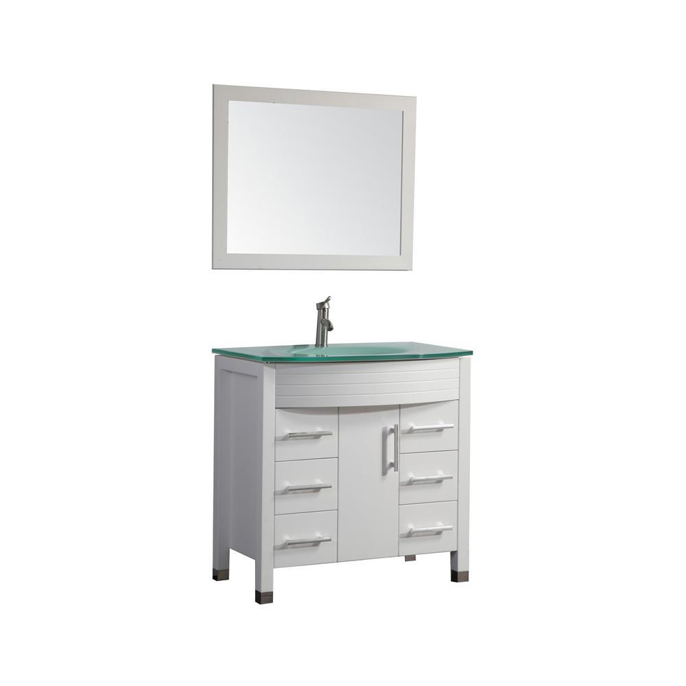 Figi 48 in. W x 22 in. D x 36 in. H Vanity in White with Glass Vanity Top in Aqua with Aqua Basin and Mirror