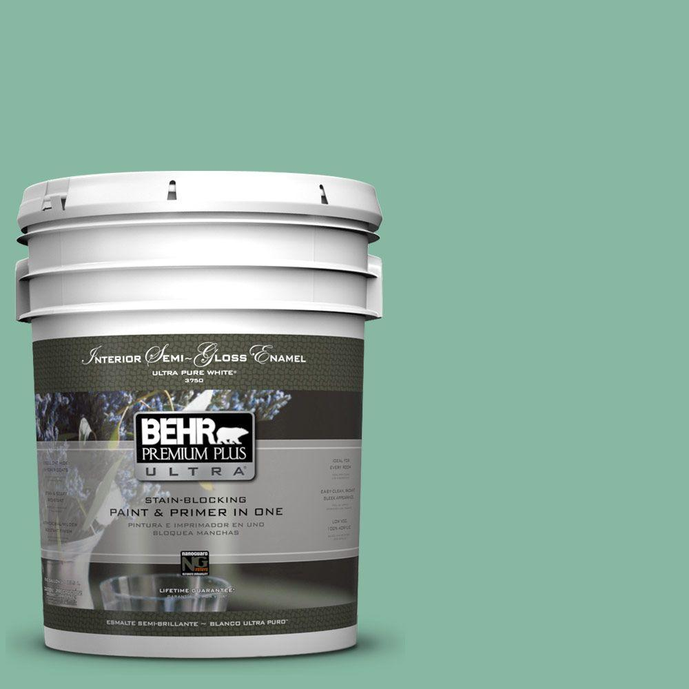 BEHR Premium Plus Ultra 5-gal. #480D-4 Indian Ocean Semi-Gloss Enamel Interior Paint