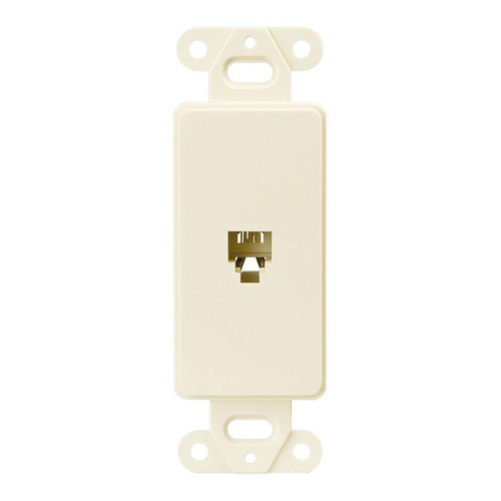 1-Jack Decorator Single Telephone Jack with 4-Conductors - Light Almond