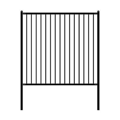 Lyon Style 6 ft. x 6 ft. Black Unassembled Steel Fence Panel