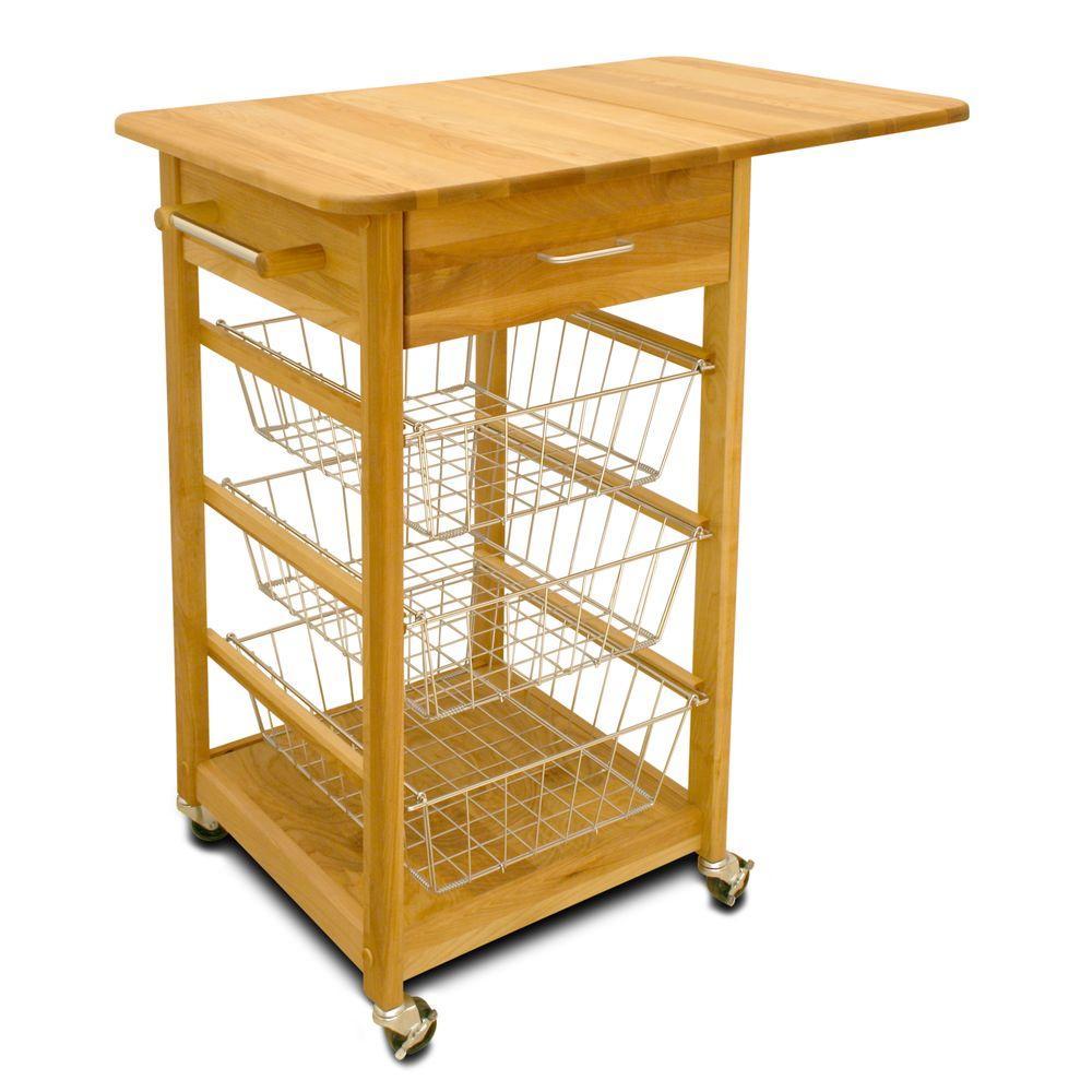Natural Kitchen Cart with Towel Bar