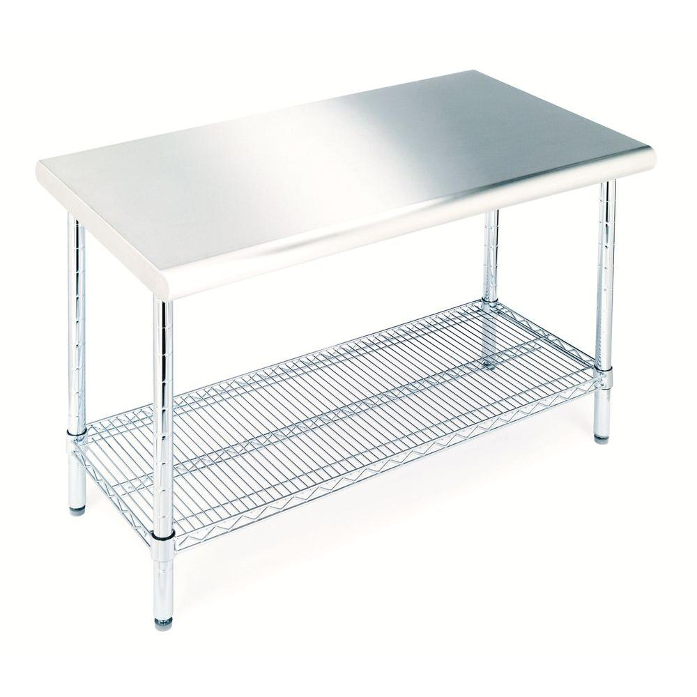Seville Classics Stainless Steel Kitchen Utility TableSHE - Stainless steel work table with wheels