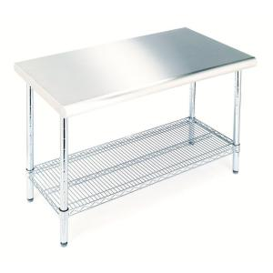 Seville Classics Stainless Steel Kitchen Utility Table SHE18308   The Home  Depot