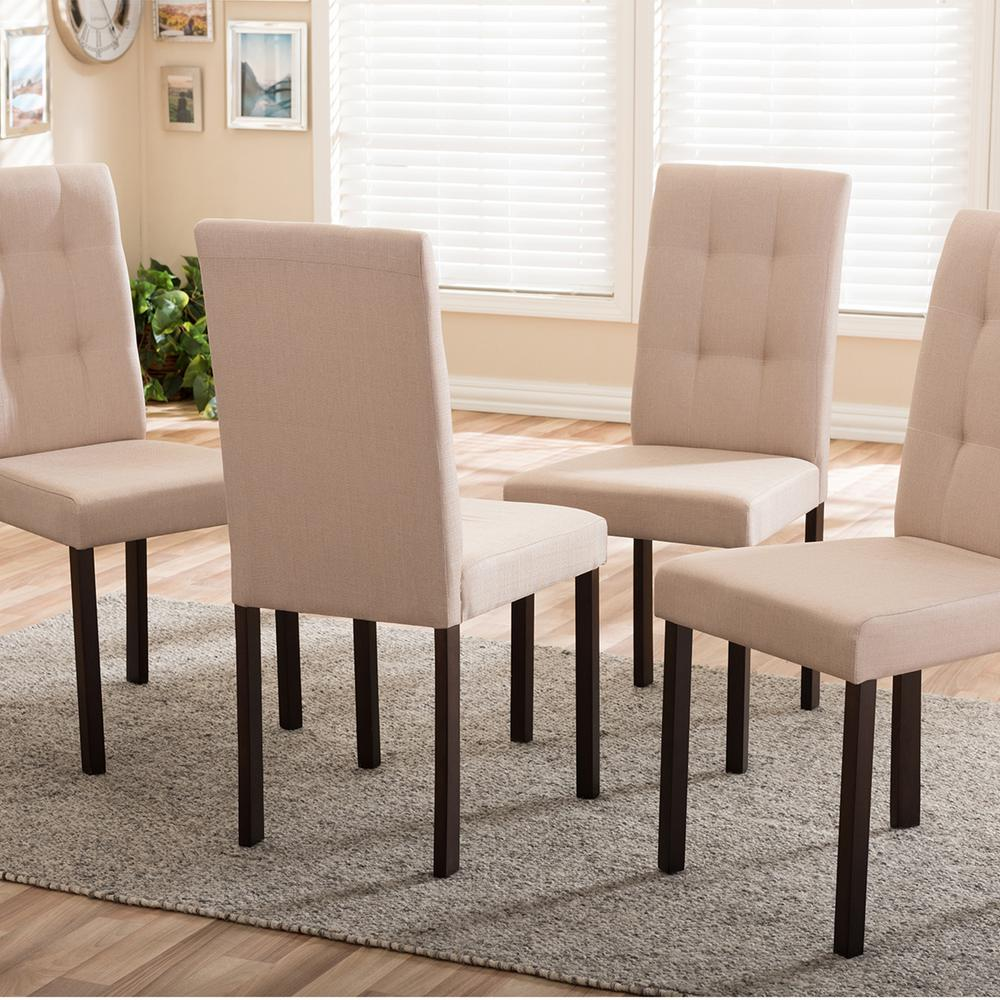 Set Of 4 Country Cream Dining Chairs: Baxton Studio Andrew 9-Grids Beige Fabric Upholstered