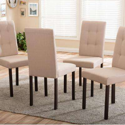 Andrew 9-Grids Beige Fabric Upholstered Dining Chairs (Set of 4)