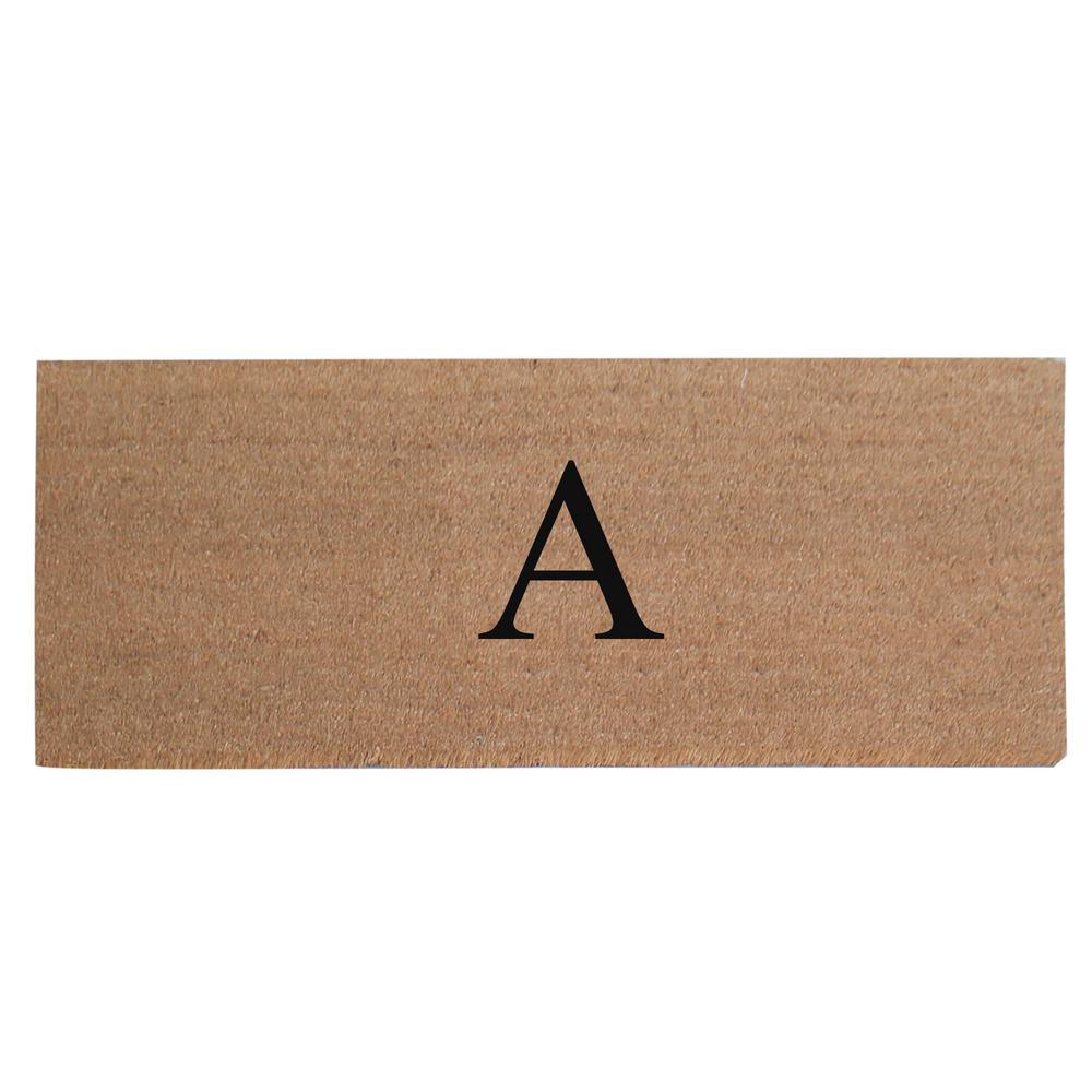 A1HC First Impression Plain 20 in. x 48 in. Coir Monogrammed A Door Mat