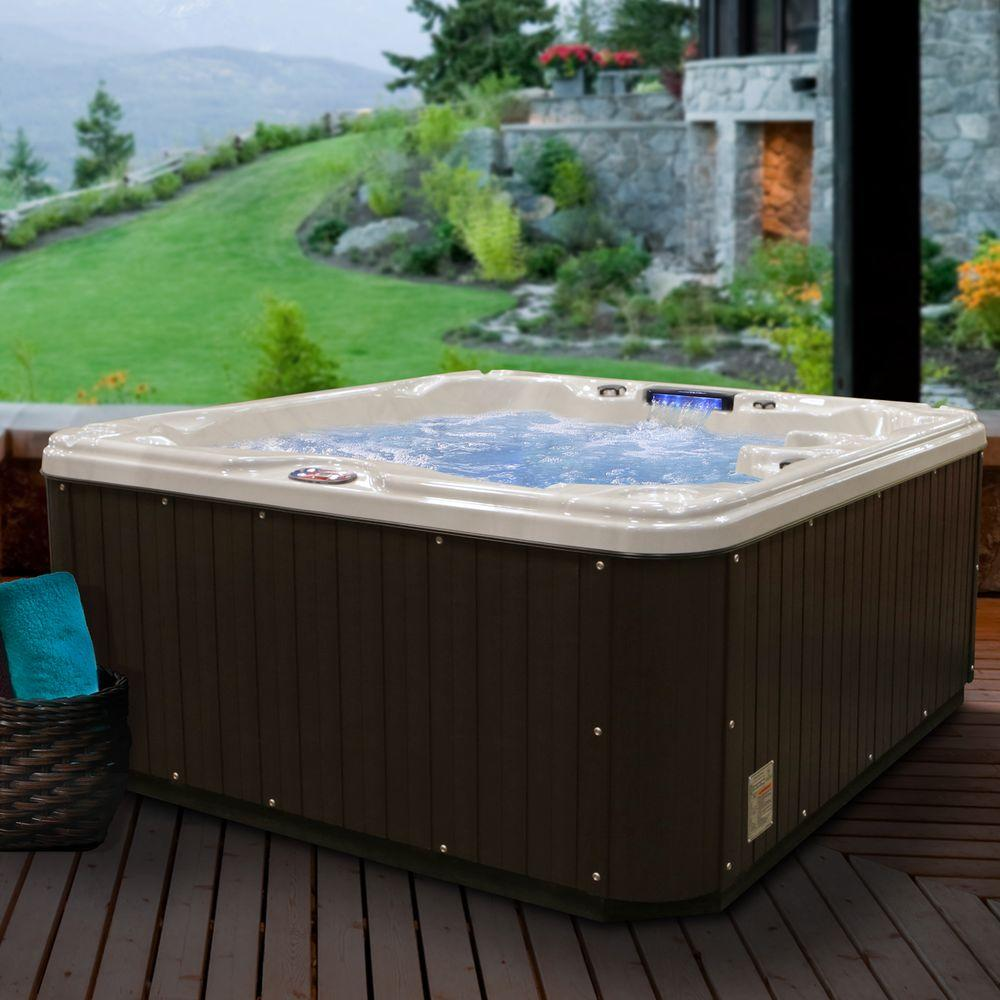 American Spas 6-Person 30-Jet Premium Acrylic Lounger Sterling Silver Spa Hot Tub with Backlit LED Waterfall