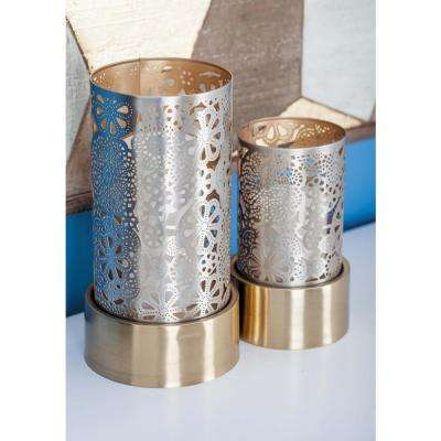 Large: 10 in; Small: 8 in. Gold and Silver Iron Floral Candle Holder (Set of 2)