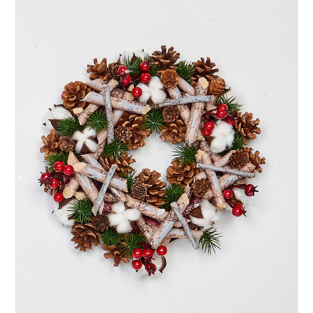 """12 /"""" SNOWY PINE CANDLE RING or use as small WREATH HOLIDAY DECOR"""
