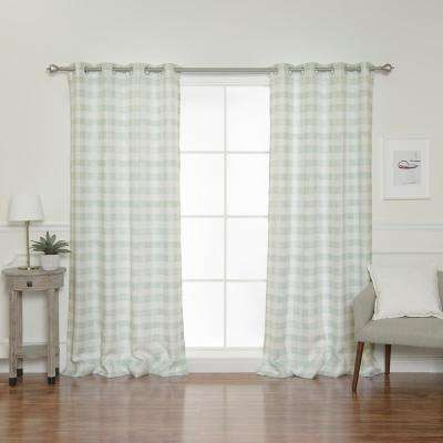 52 in. W x 84 in. L Nordic Watercolor Check Grommet Curtains in Green (2-Pack)
