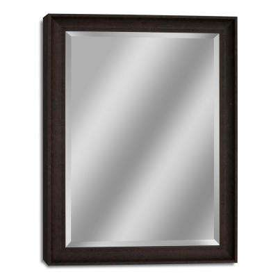 35 in. W x 45 in. H Transitional Driftwood Wall Mirror in Dark Teak