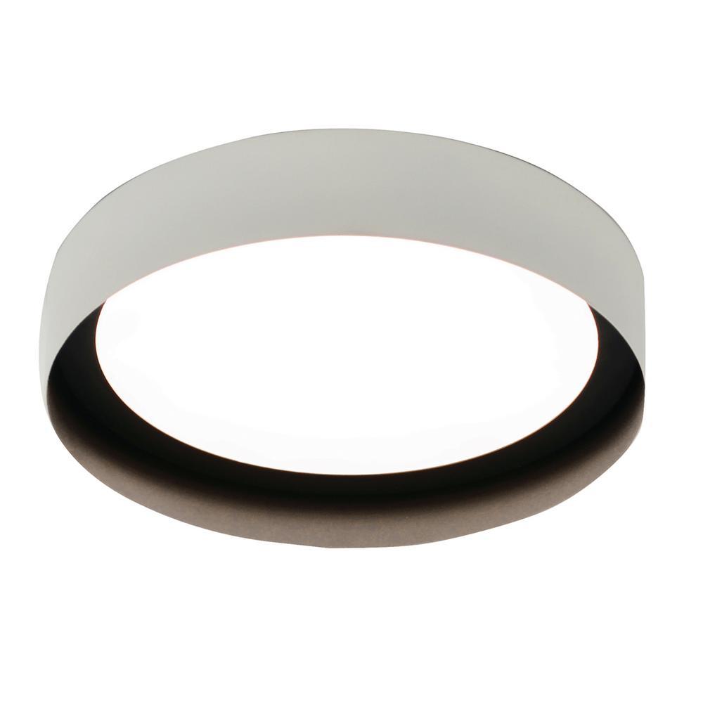 Reveal 12 in. 17.5-Watt White and Black Integrated LED Flush Mount