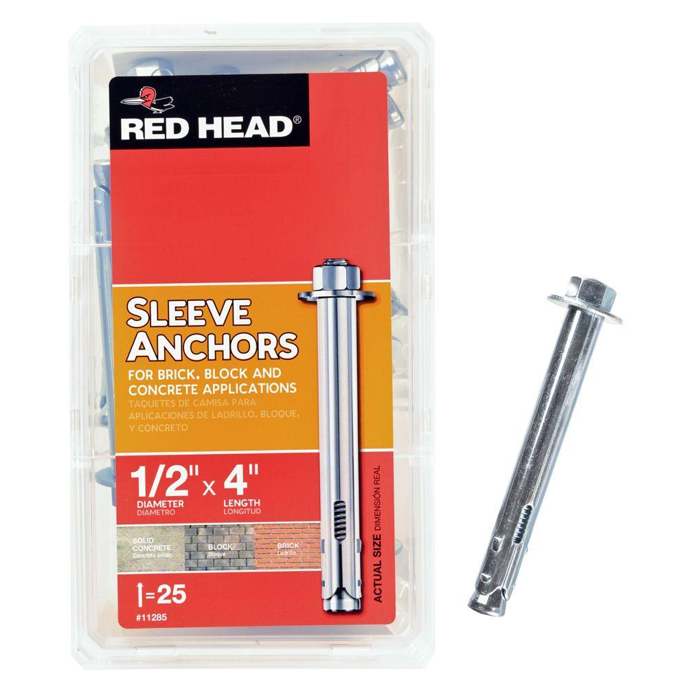 Red Head 1/2 in. x 4 in. Steel Hex-Head Sleeve Anchors (25-Pack)