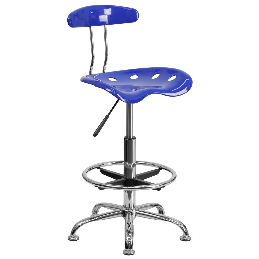 nautical office furniture. Flash Furniture Vibrant Nautical Blue And Chrome Drafting Stool With Tractor Seat Office N