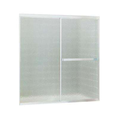 Standard 52 in. x 56-7/16 in. Framed Sliding Tub and Shower Door in Soft Silver with Handle