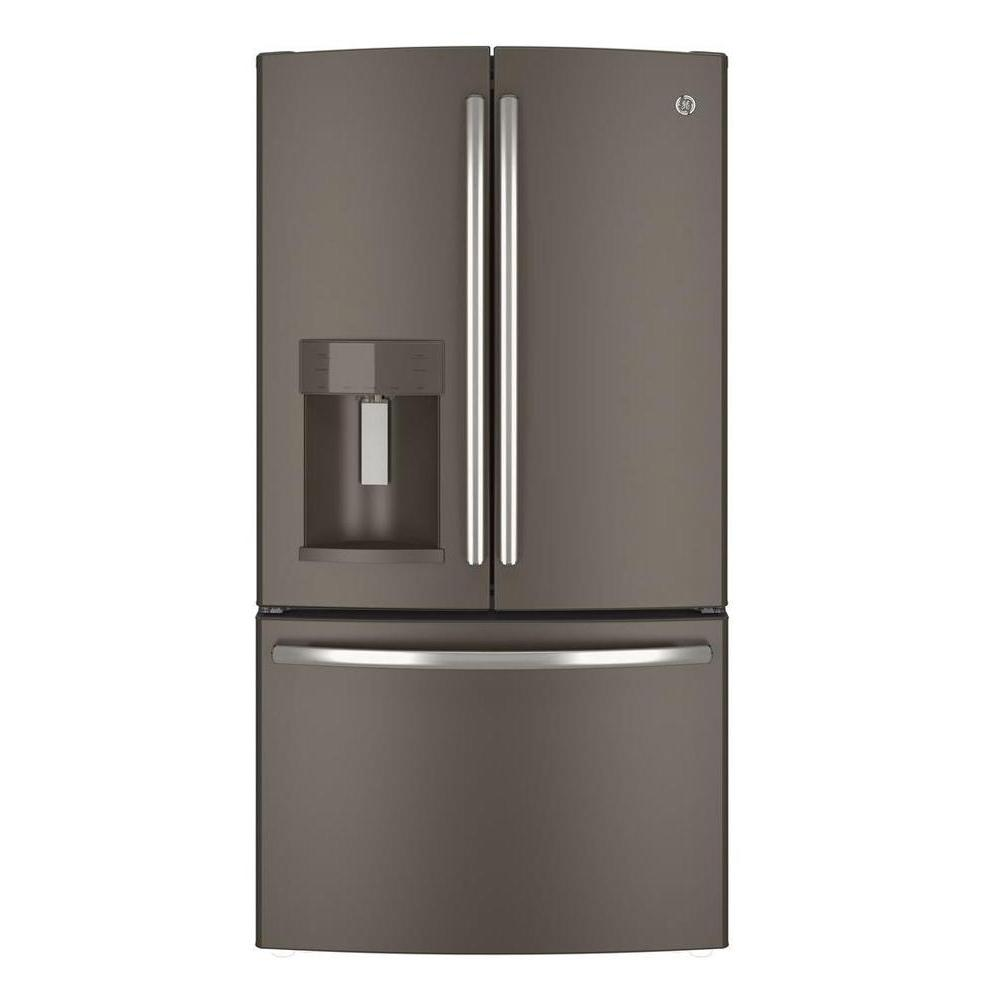 Ge 36 In W 27 8 Cu Ft French Door Refrigerator In Slate