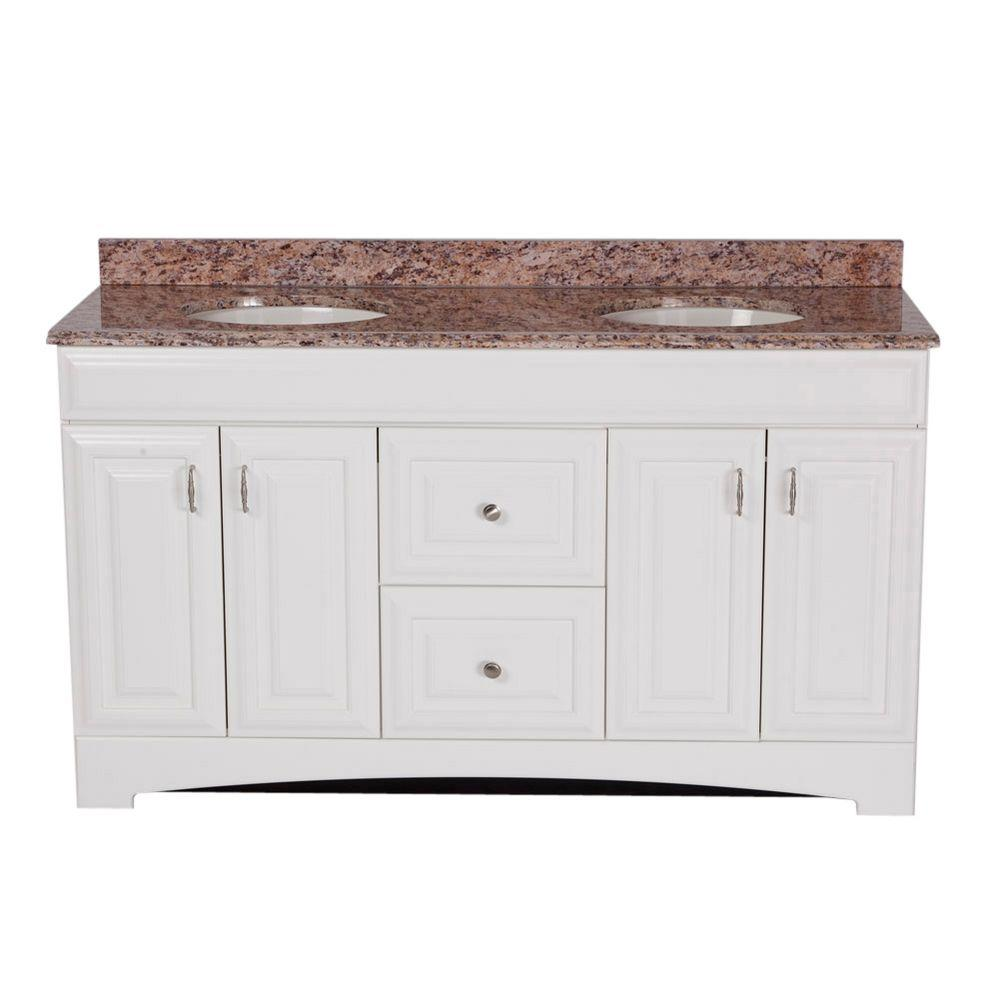 St. Paul 60 in. Providence Vanity in White with 61 in. Stone Effects Vanity Top in Santa Cecilia