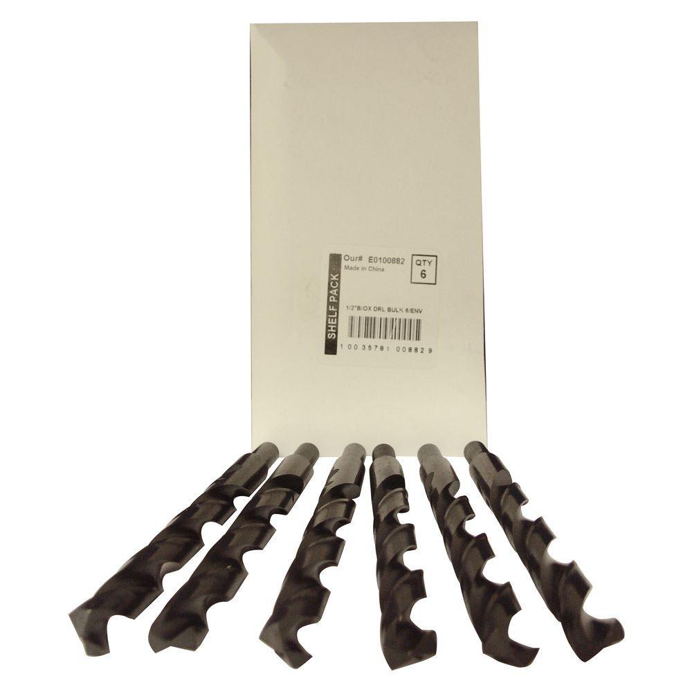 1/2 in. Diameter Black Oxide Jobber Length Drill Bit (6-Pack)