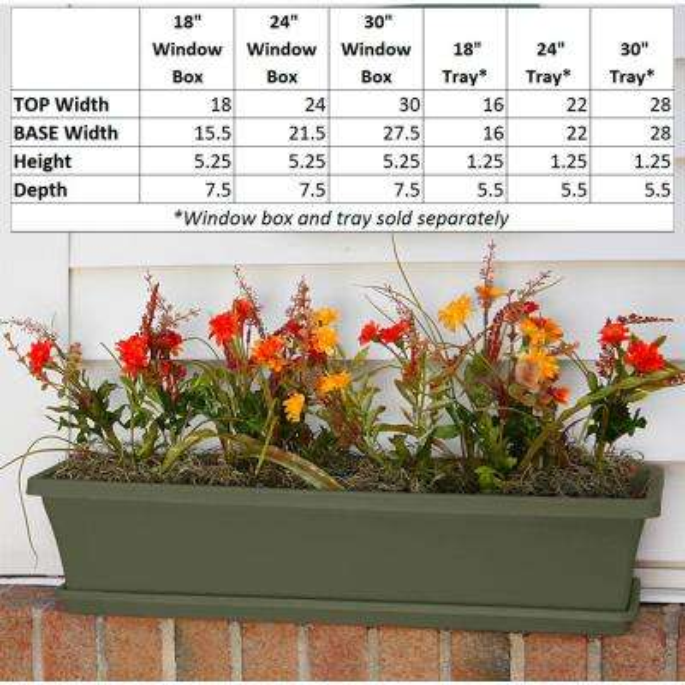 18 x 5.25 Living Green Terra Plastic Window Box Planter