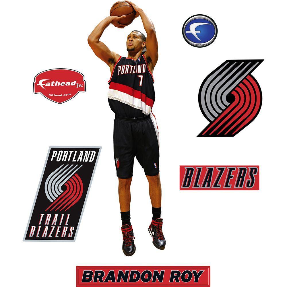 Fathead 11 in. x 36 in. Brandon Roy Portland Trail Blazers Logo Wall Decal