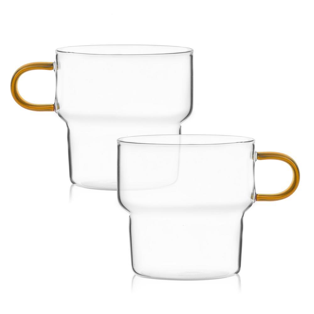 Glass Mug With Orange Handle Stacking Espresso Coffee Glasses (Set of 8)