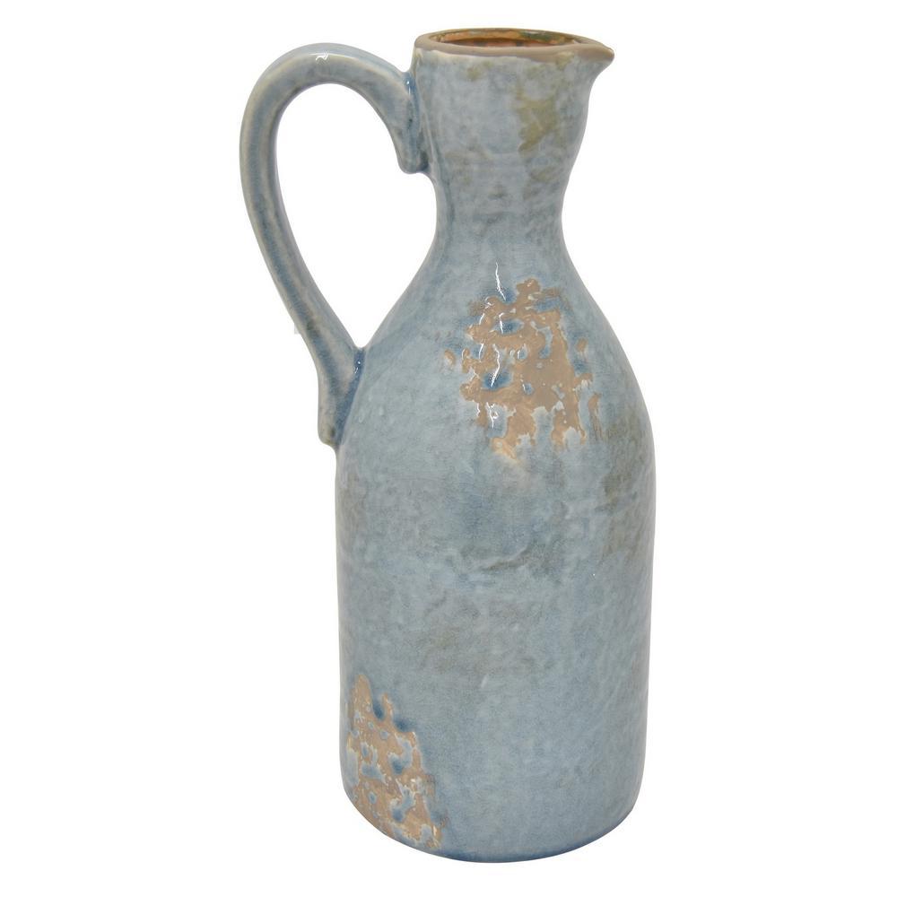 14 in. Blue Ceramic Pitcher Vase